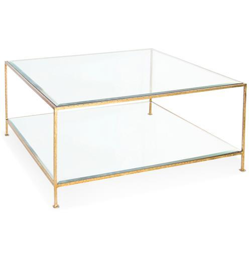 Gold Glass Two Tier Coffee Table