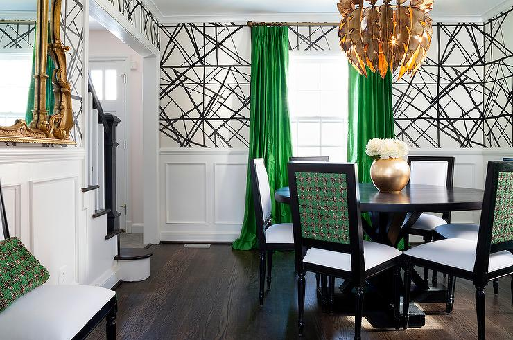 Green And Black Dining Room With Gold Feathers Chandelier View Full Size