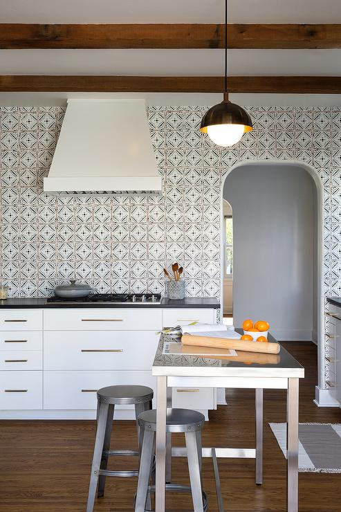 Black And White Quatrefoil Kitchen Backsplash Tiles