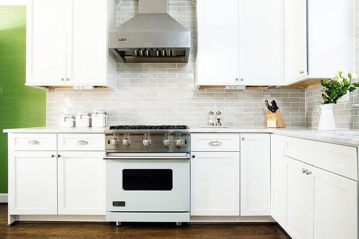 White and Gray KItchen with Light Blue Viking Stove - Transitional ...