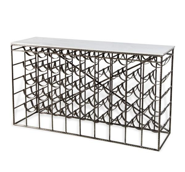 White Marble Top Leather Wine Console