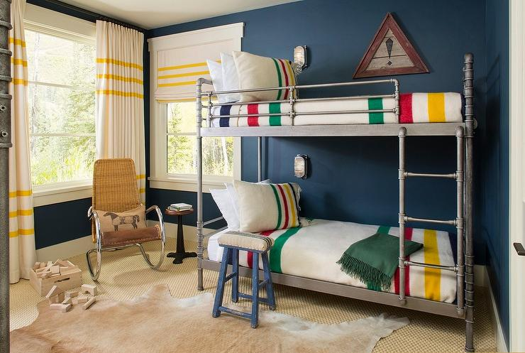 Industrial Steel Pipe Bunk Beds With Colorful Striped