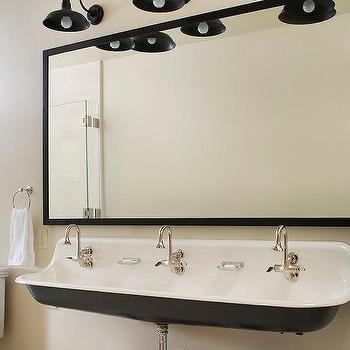 Black and White Cottage Kids Bathroom with Kohler Brockway Sink and 3 ...