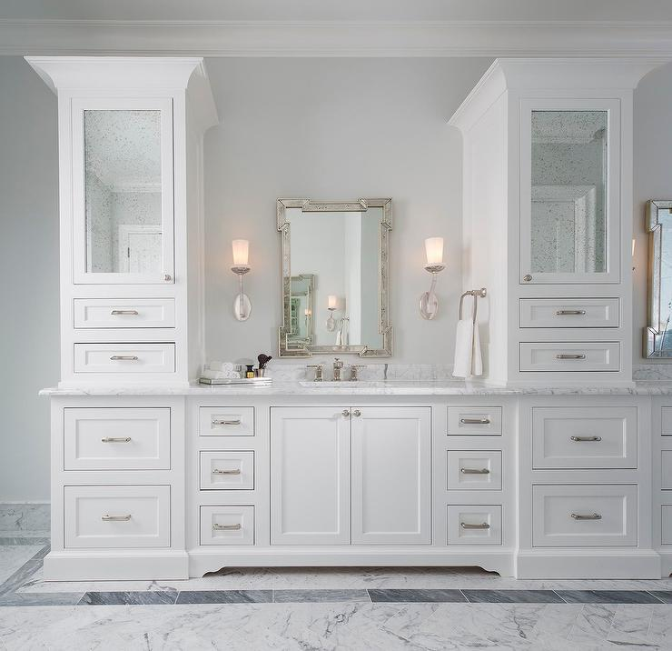Bathroom vanity cabinets with Antiqued Mirrored Doors ...