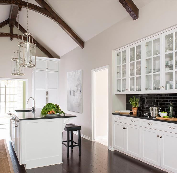 Black And White Kitchen With Glass Front China Cabinets