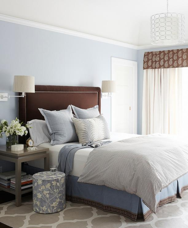 Blue Brown Bedroom Pictures: Brown And Blue Bedroom With Gray Nightstands And Gray