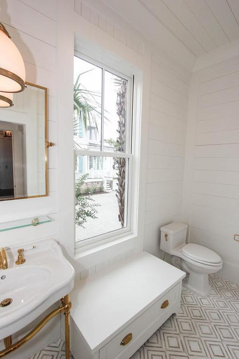 White And Gold Bathroom With Marble Hex Floor Tiles