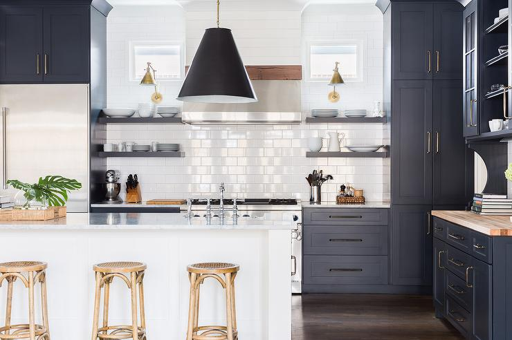 Alyssa Rosenheck: Dark Blue Shaker Kitchen Cabinets With White Center  Island And Madeleine Backless Stools Amazing Pictures
