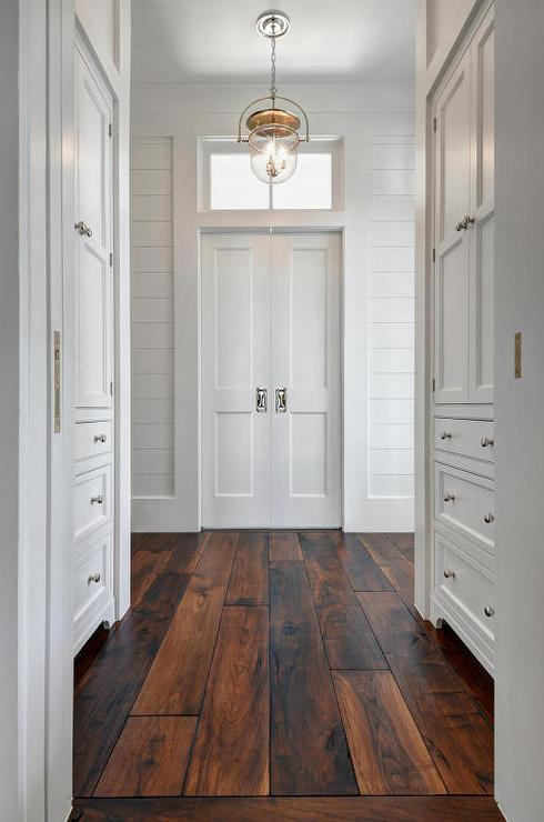 Foyer Hardwood Floors : Hallway built in cabinets with barn wood floors cottage