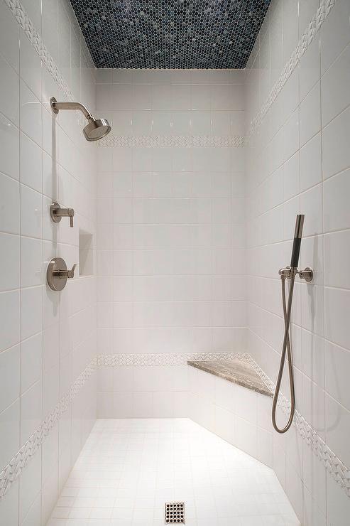 Tiled bathroom ceiling