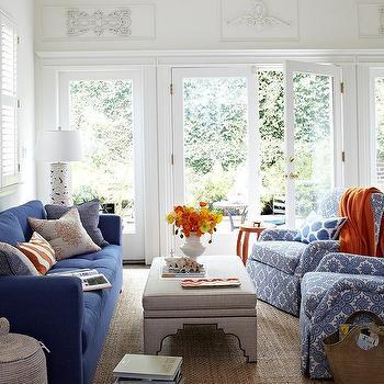 Blue Sofa With Gray Linen Ottoman As Coffee Table