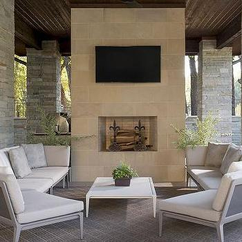 White Outdoor Sectional With Gray Trellis Outdoor Pillows