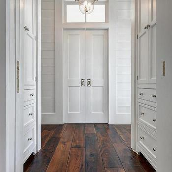 Ordinaire Hallway Built In Cabinets With Barn Wood Floors