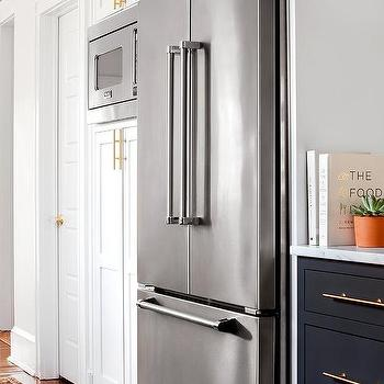 Pantry Cabinets Framing Viking Fridge Next To Microwave