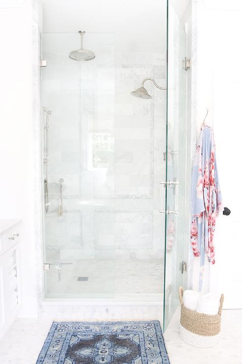 Walk In Shower With Marble Frame Accent Tiles