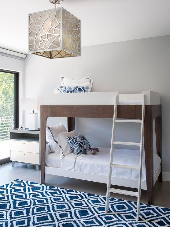 Modern Boys Bedroom with two Tone Bunk Beds and Blue Diamond Pattern ...