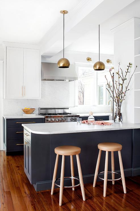 navy blue kitchen cabinets eclectic kitchen farrow and ball hague blue emily henderson. Black Bedroom Furniture Sets. Home Design Ideas