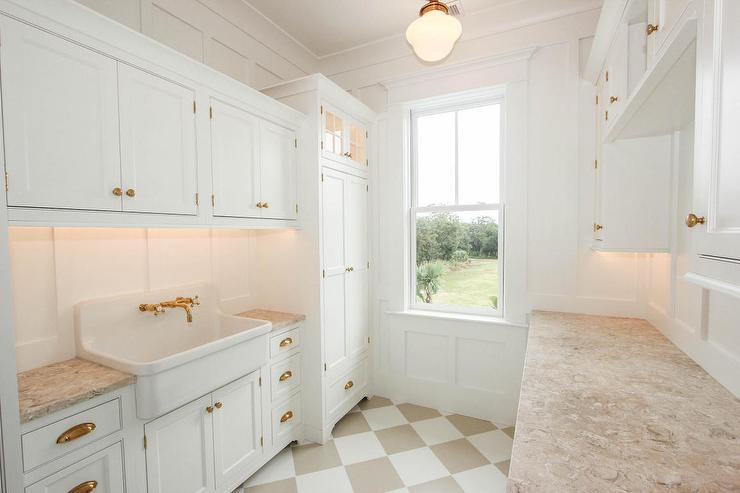 White And Beige Laundry Room With Harlequin Floor Tiles