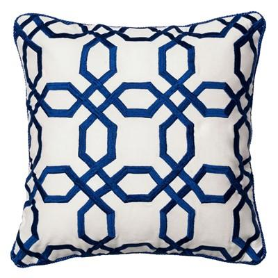 blue and white octagons throw pillow view full size