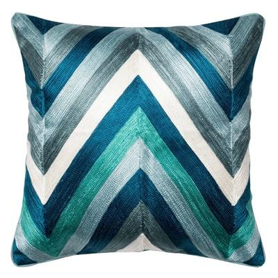 Blue Hues Chevron Throw Pillow