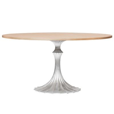 Greatest Sasha Oval Silver Double Pedestal Dining Table BZ91