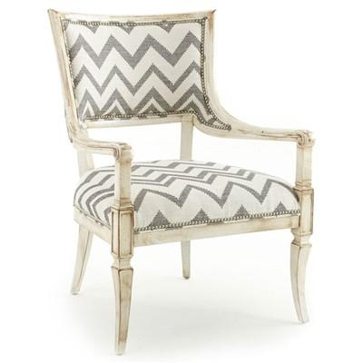 Gray And White Zig Zag Upholstered Chair