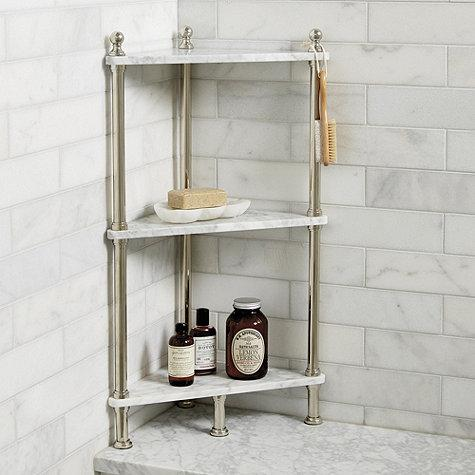 White Marble Corner Bath Shelf Simple Corner Shelves For Bathrooms