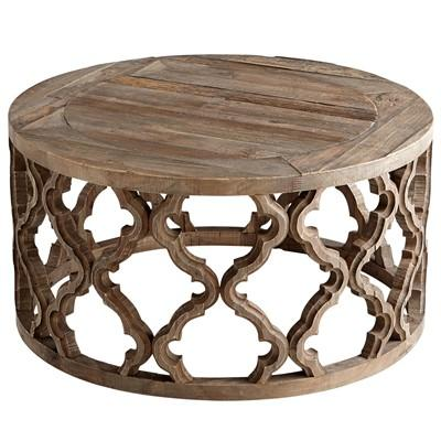 Brown wooden carved geometric coffee table Carved wood coffee table