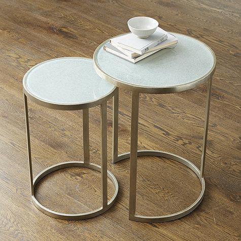 Glass Tops Silver Nesting Tables
