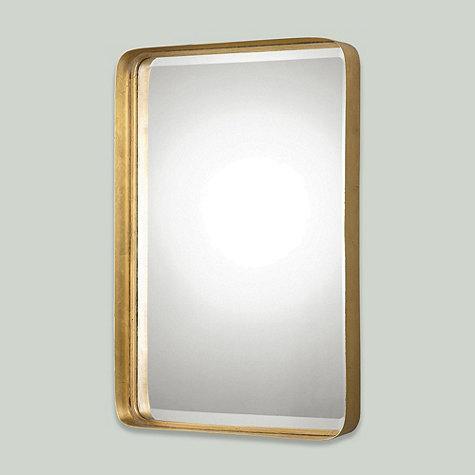 Slim Gold Frame Rounded Edges Mirror