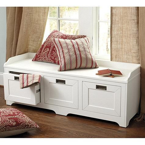 & White Three Drawer Storage Bench