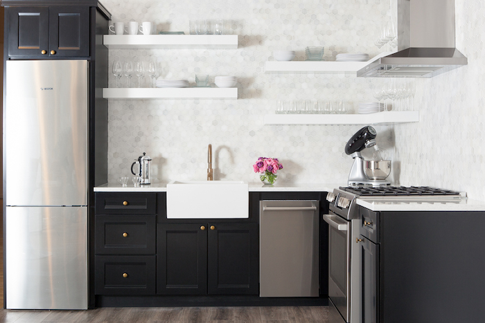 Staggered floating shelves over apron kitchen sink transitional staggered floating shelves over apron kitchen sink workwithnaturefo