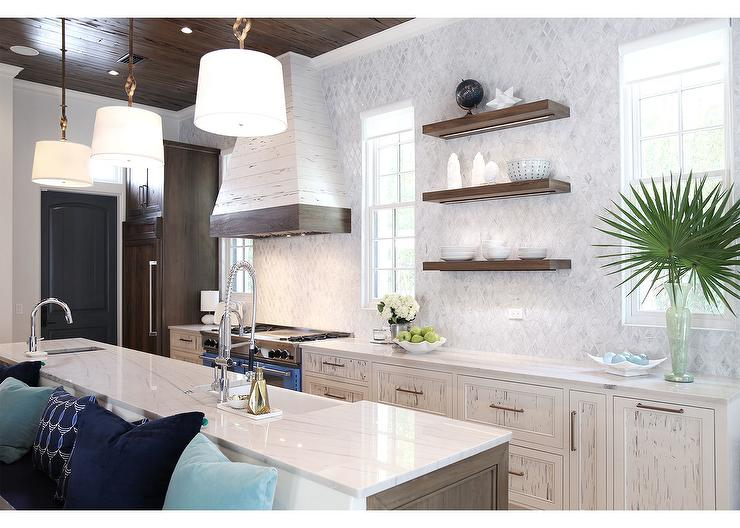 Ivory Cypress Kitchen Cabinets With White Quartzite