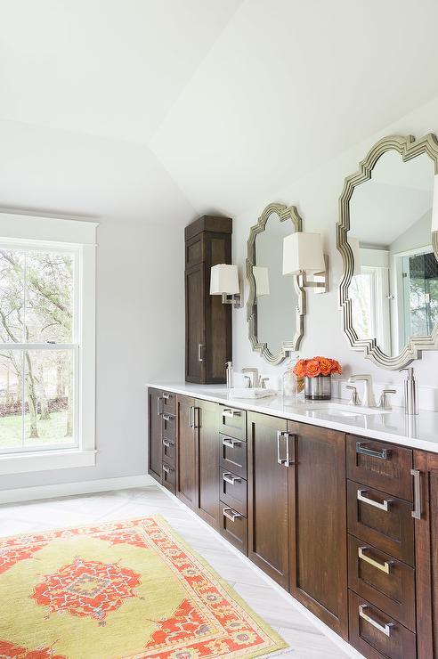 Alyssa Rosenheck: Walnut Stained Bathroom Vanity Cabinets With Yellow And  Orange Rug