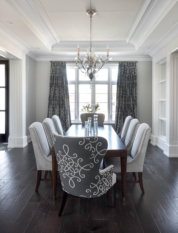 Gray dining room with gray medallion curtains for Dark grey dining room