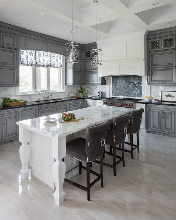 White And Gray Kitchen With Dark Gray Nailhead Counter
