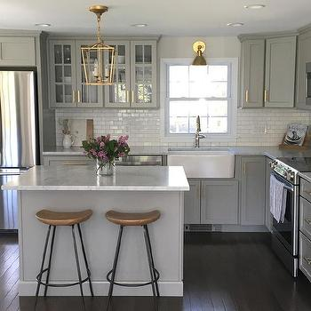 Kitchen Island With Backless Seagrass Stools Transitional Kitchen