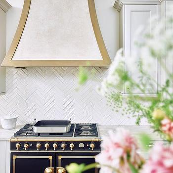 Half Wall Kitchen Backsplash In Thin White Herringbone