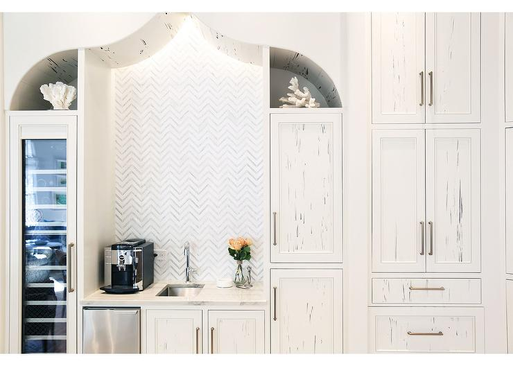 White Kitchen Pantry white cypress kitchen pantry cabinets with marble herringbone