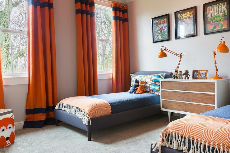 Curtains Ideas curtains boys room : Blue And Orange Boys Bedrooms Design Ideas