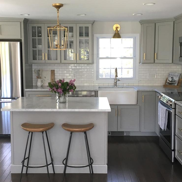Small White Kitchen Island: Gray Kitchen Cabinets With Lewis Dolan Brass Bar Pulls