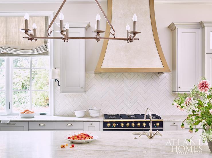 Half Wall Kitchen Backsplash In Thin White Herringbone Tiles Transitional Kitchen