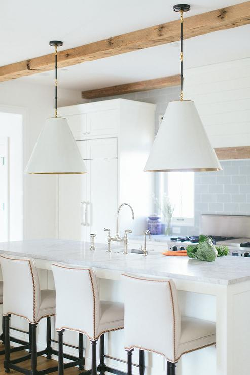 Marvelous White And Blue Kitchen With White Leather Stools With Brass Dailytribune Chair Design For Home Dailytribuneorg