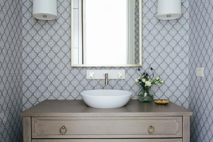 View Full Size. Blue And Gray Powder Room Features Walls Clad In Blue  Arabesque Scalloped Wallpaper ...