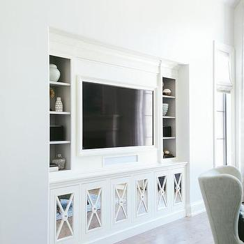 Good Living Room Built Ins With Mirrored X Front Cabinet Doors