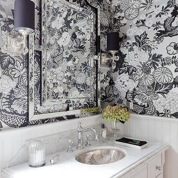 Silver And Black Chinoiserie Wallpaper Design Ideas