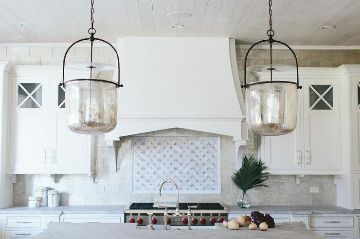 Mercury Glass Smokebell Kitchen Pendant Lights Transitional Kitchen