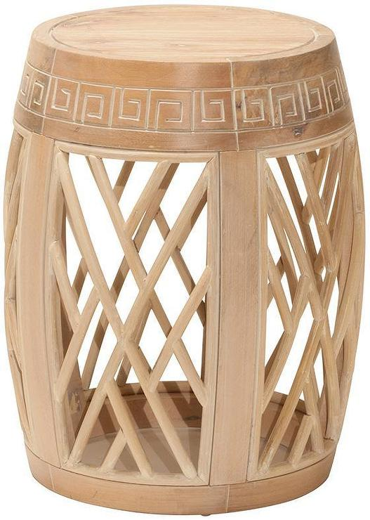 Drum Lattice Cutouts Gray Accent Table