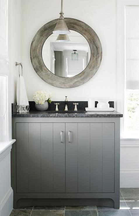 Charcoal Gray Bath Vanity With Black Marble Countertop Cottage Bathroom