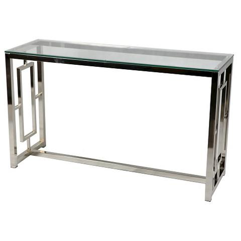 Chrome And Glass Geometric Console Table